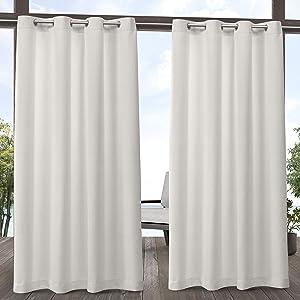 Exclusive Home Curtains Aztec Indoor/Outdoor Grommet Top Curtain Panel Pair, 54x84, Vanilla