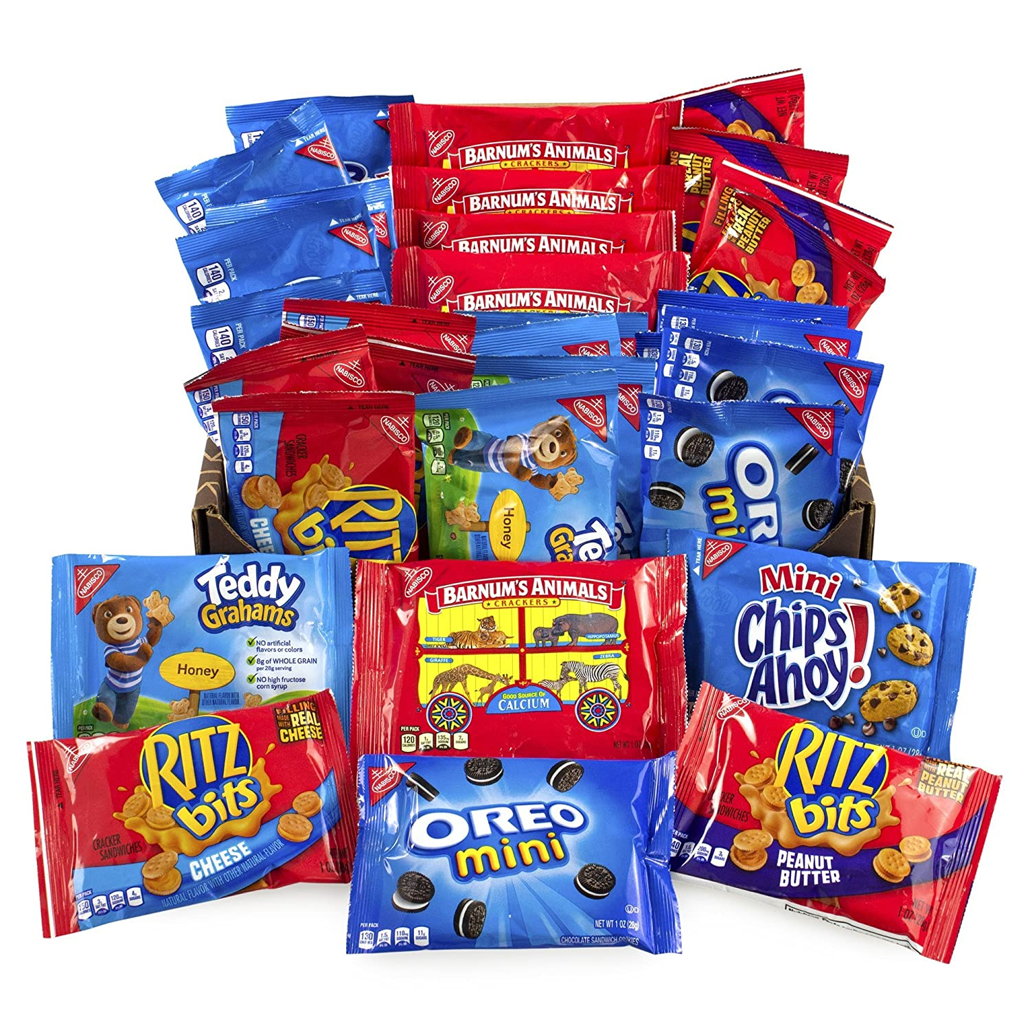 Nabisco Lunch Snack Favorites, 32 Count Variety Pack - Includes Oreo Mini Cookies, Chips Ahoy! Mini, Ritz Bits, Barnum's Animal Crackers, and Teddy Grahams Barnum' s Animal Crackers Mondelez