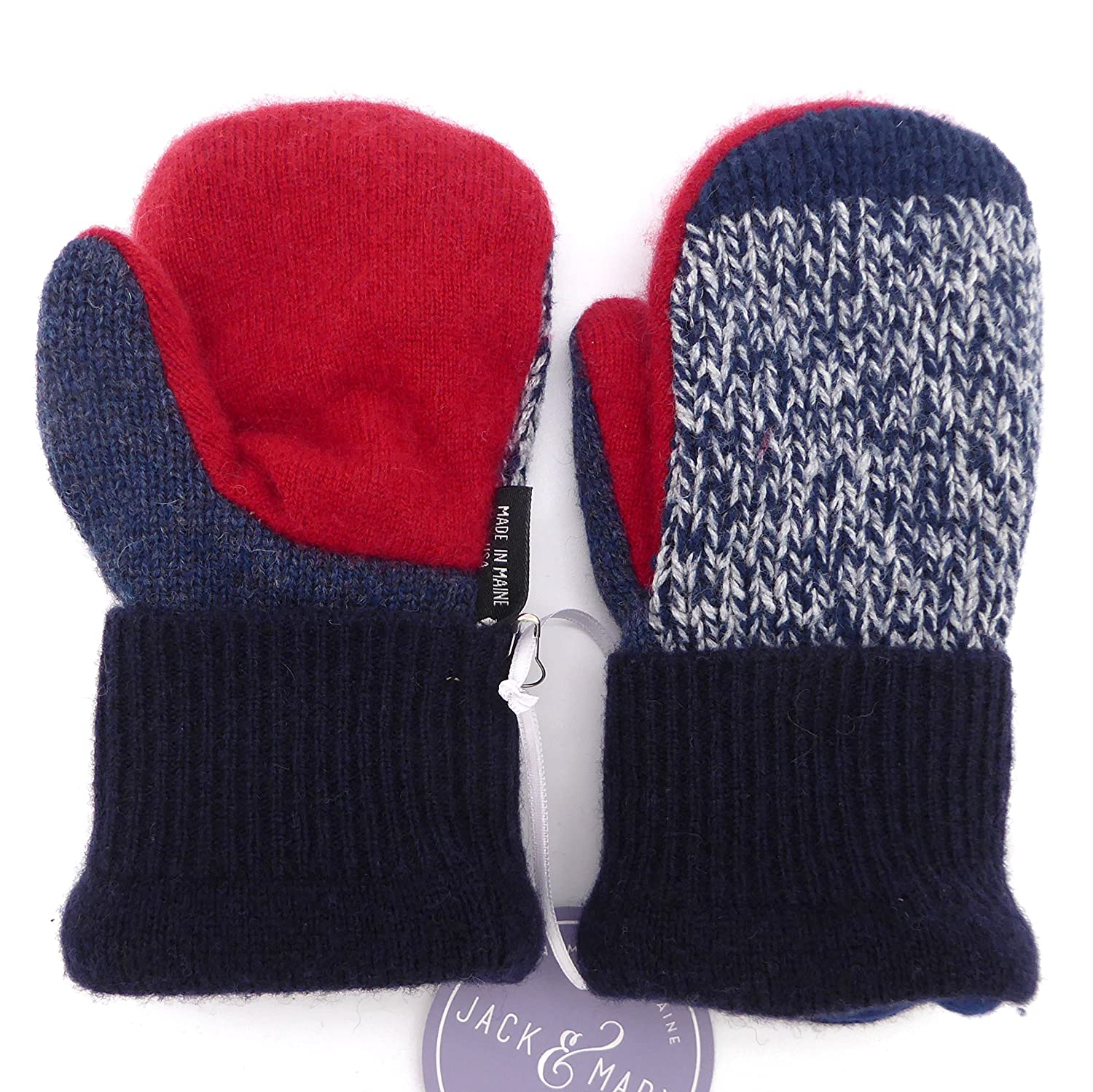 Jack & Mary Designs Handmade Kids Fleece-Lined Wool Mittens, Made from Recycled Sweaters in the USA