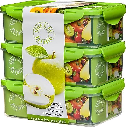 Amazon.com: Caja de almuerzo Bento 3 piezas 39 oz ...