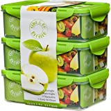 Bento Lunch Box - Set of 3 - 39oz - Meal Prep Containers - BPA Free - Portion Control Food Storage - Removable Compartments Microwave, Dishwasher & Freezer Compatible - Leak Proof Snap Locking Lid