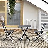 Outsunny Ensemble Meuble de Jardin Balcon Salon de Jardin Bistrot Table Carré 2 Chaises Pliantes PE Rotin Tressé 60L x 60l x72Hcm Noir Neuf 93