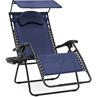 Deals on Oversized Zero Gravity Chair w/ Folding Canopy Shade Cup Holder
