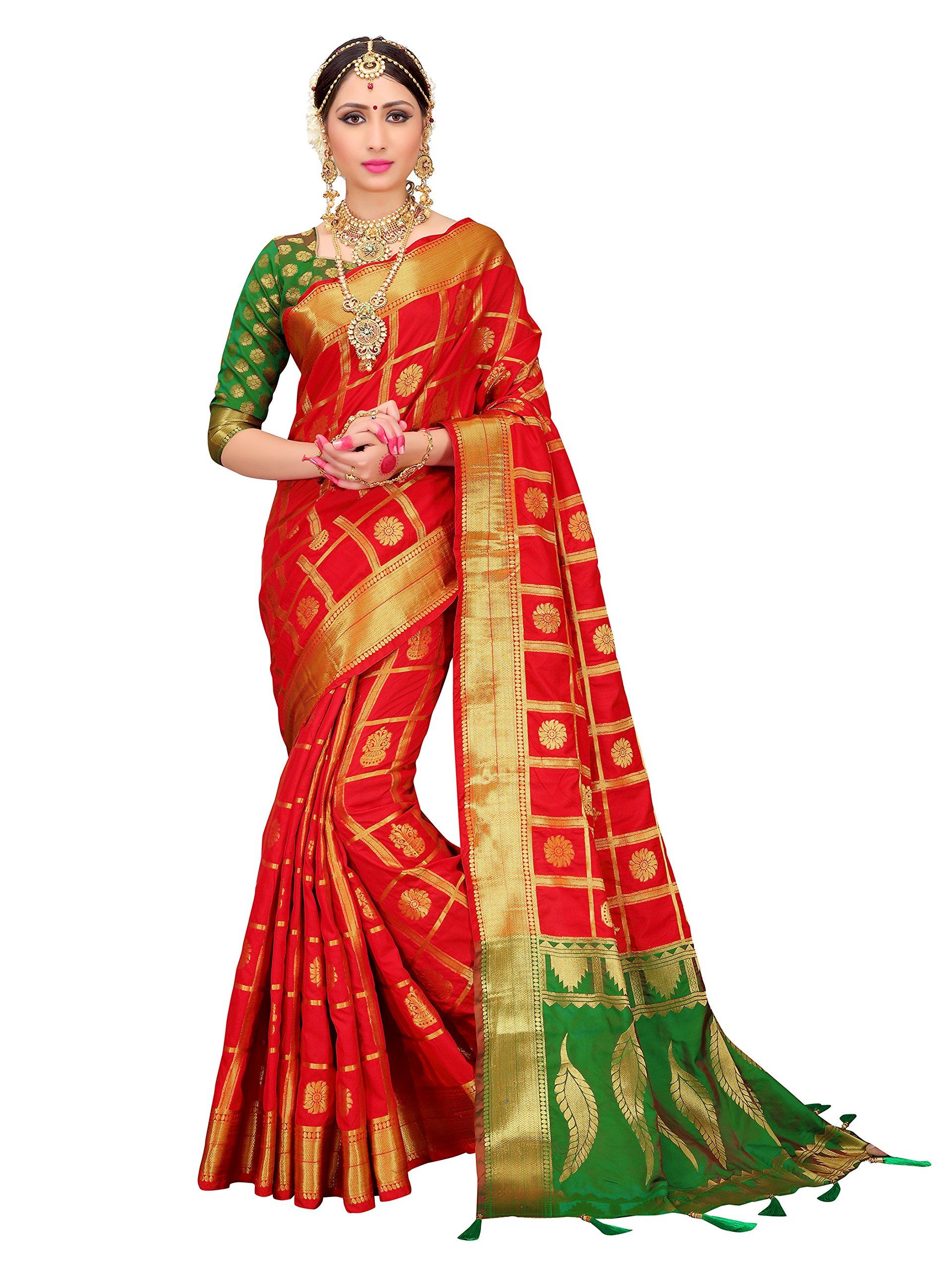 ELINA FASHION Sarees for Women Patola Art Silk Woven Work Saree l Indian Wedding Ethnic Sari with Blouse Piece (Red 1)