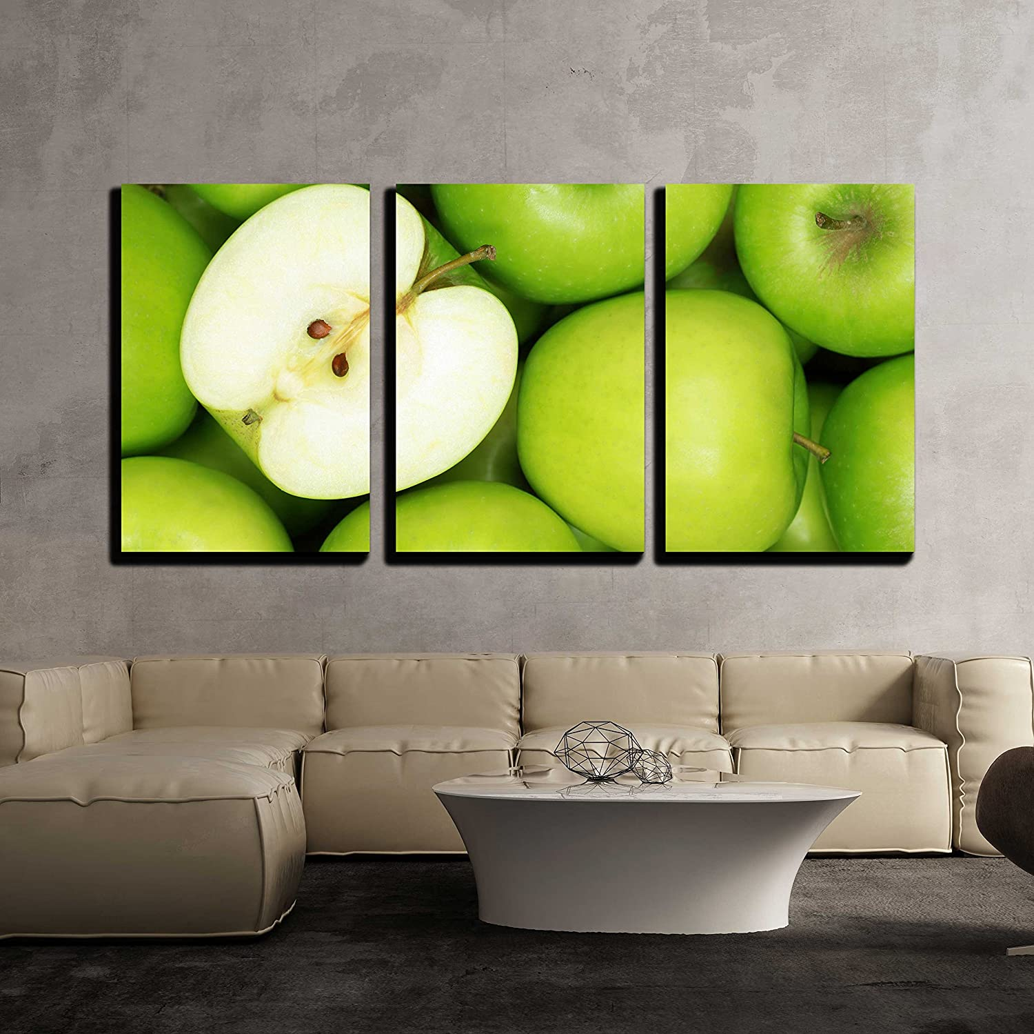 """wall26-3 Piece Canvas Wall Art - Group of Green Apples Forming a Background - Modern Home Decor Stretched and Framed Ready to Hang - 16""""x24""""x3 Panels"""