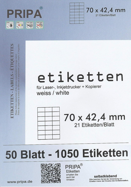 2100 ETIKETTEN 70 x 42,4 mm 100 Blatt weiß Laser Inkjet Kopierer permanent