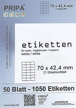 Laser Inkjet Kopierer Klebeetiketten DIN A4 weiß 70x42,3mm 100 Blatt