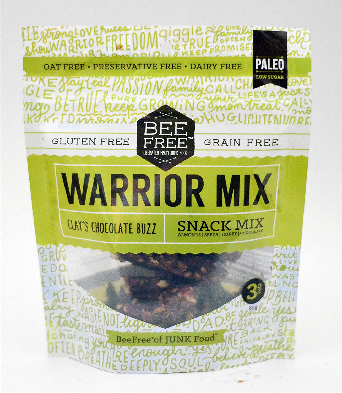 BeeFree Warrior Mix Granola | Gluten Free, Grain Free, Paleo, Clay's Chocolate Buzz, 3 Ounce Bag