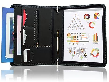 Stylio portadocumentos con cremallera cartera carpeta de anillas, entrevista y resume documento organizador, iPad