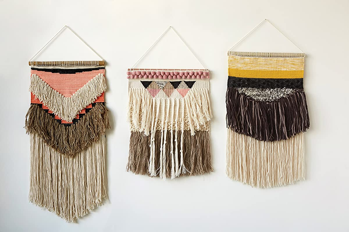 Creative Co-op Peach & Brown Hand Woven Wall Hanging with Fringe