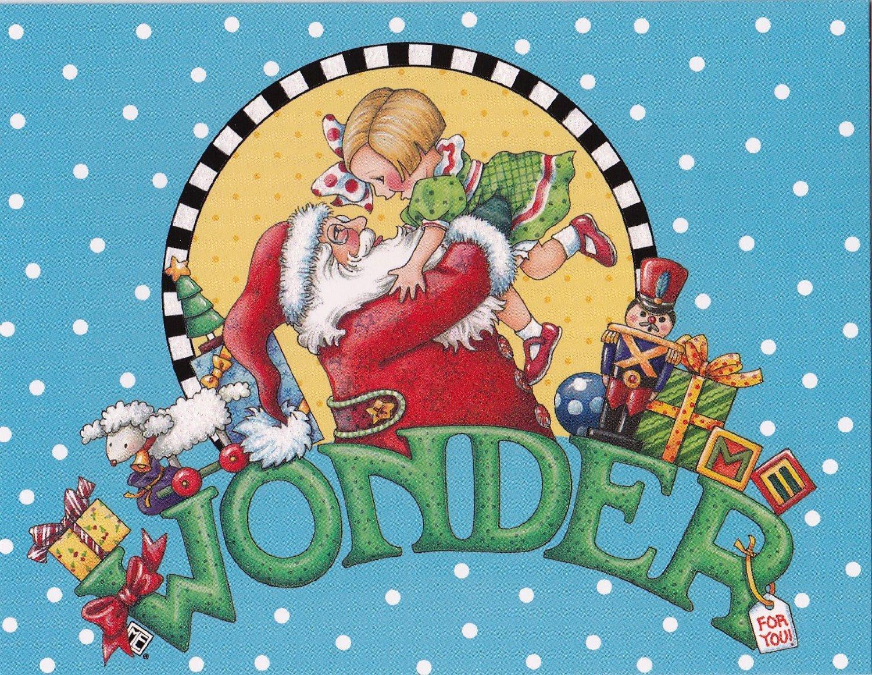 Amazon.com: Mary Engelbreit Christmas Cards Santa and Little Girl ...