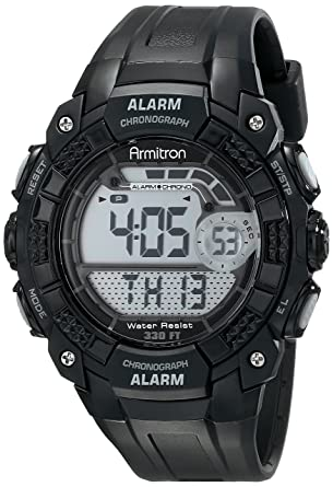 Armitron Sport Mens 408209blk Digital Watch With Black Resin Strap