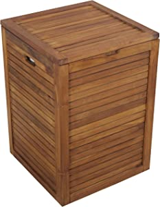 AquaTeak The Original Nila Large Size Teak Laundry or Storage Hamper