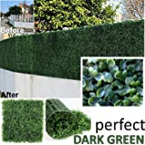 "Genpar Artificial Boxwood Hedge Covers 33 SQ feet 12 Panels (20"" x 20"") UV Protection 15 Years Life Span Indoor Outdoor Greenery Topiary for Home Backyard Garden Decoration Privacy Fence (Dark Green)"