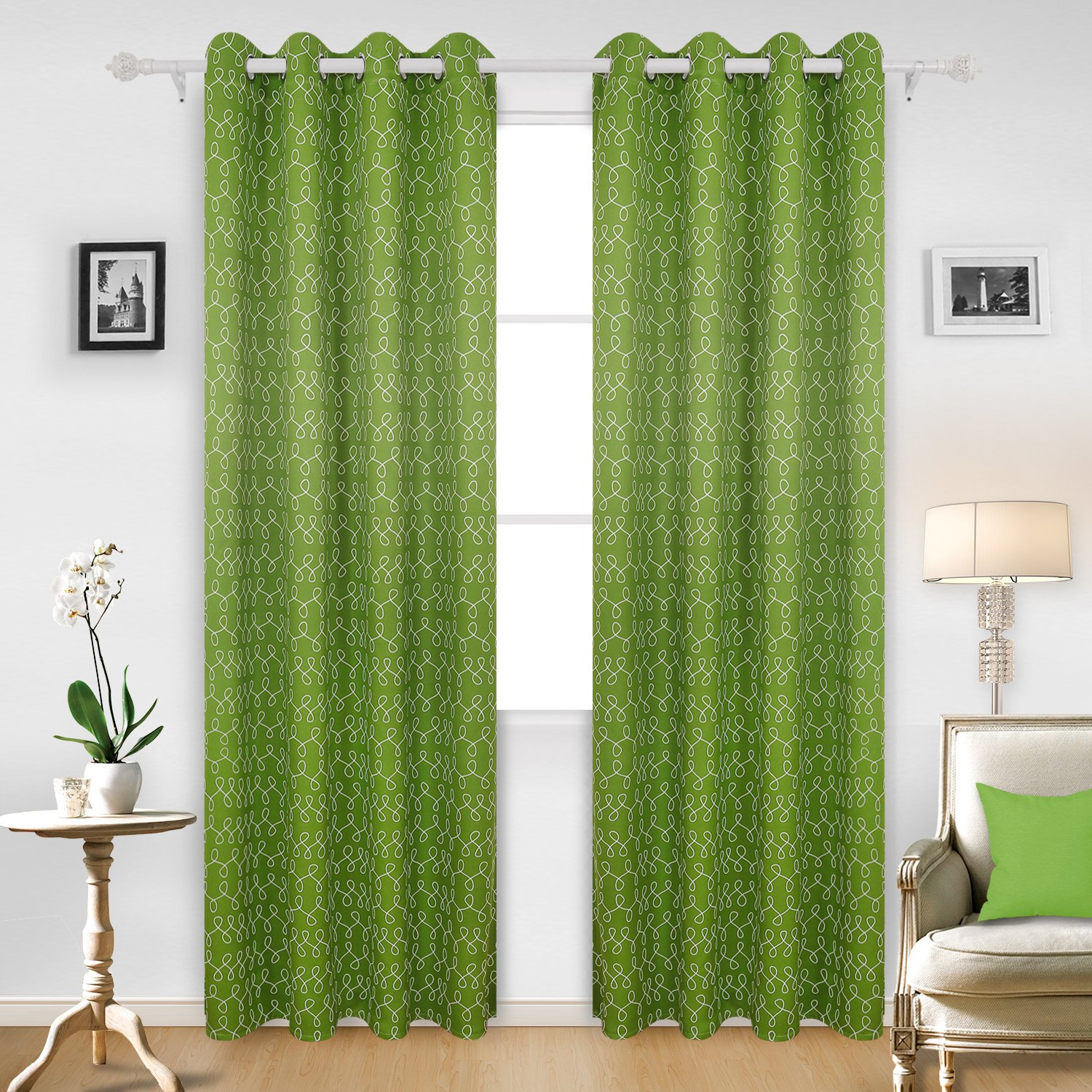 Deconovo Decorative Geometrical Pattern EightPrinted Thermal Insulated Blackout Eyelet Curtains for Boys Room with Two Tiebacks 46 x 72 Inch Pair Green