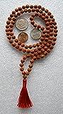 UDRAKSHA RUDRAKSH 6 MM 108 BEADS PRAYER JAPA KARMA MALA NECKLACE-TOP GRADE 5 FACE (5 MUKHI) HINDU TIBETAN BUDDHIST PRAYER KARMA BEADS SUBHA ROSARY MALA FOR NIRVANA, BHAKTI, FOR REMOVING INNER DOSHAS, FOR CHANTING AUM OM, FOR AWAKENING CHAKRAS, KUNDALINI THROUGH YOGA MEDITATION