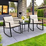 SUNLEI Outdoor 3-Piece Bistro Set Black Wicker Furniture-Two Chairs with Glass Coffee Table (Black)