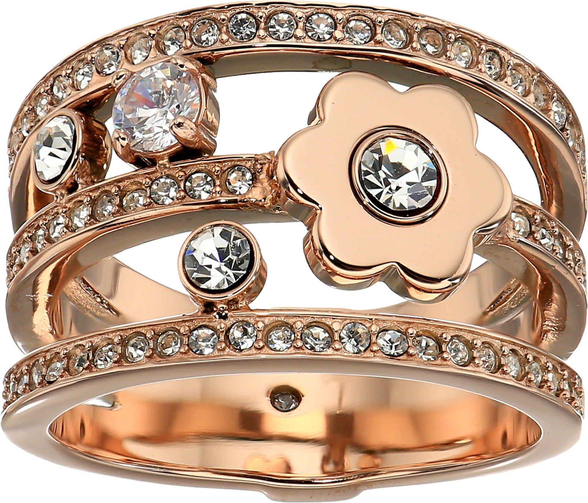 Michael Kors Womens Rose Gold-Tone Flower Ring, 8