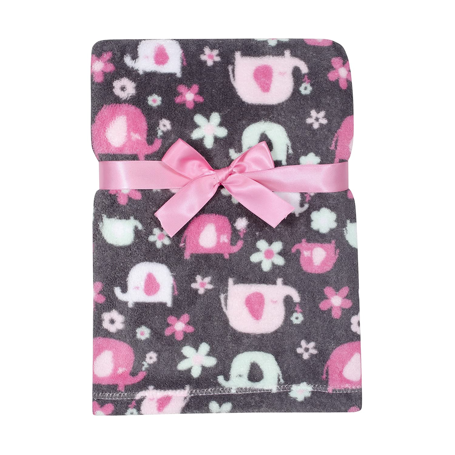 Baby Gear Plush Velboa Ultra Soft Baby Girls Blanket 30 x 40, Pink Elephants Cutie Pie Baby