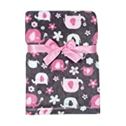 Baby Gear Plush Velboa Ultra Soft Baby Girls Blanket 30 x 40, Pink Elephants