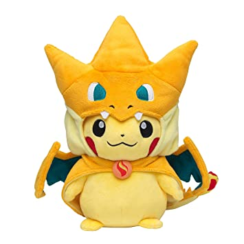Pokemon Center Pikachu de peluche originales vestidos con ponchos megaCharizard Y
