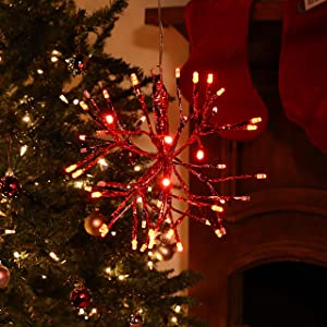 Alpine Corporation CRD100S-RD Christmas Twig Snowflake Ornament with LED Lights Indoor Festive Holiday Décor, 10-Inch, Red