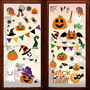 145 Pcs Halloween Decorations Clings Window Decals- 8 Sheet Large Halloween Black Spiders/Cute Pumpkins Decal- Halloween Window Decals- for Kids/School/Home/Office Supplies
