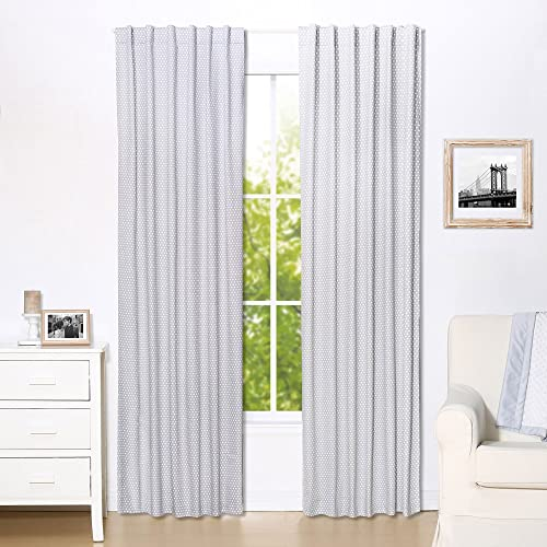 Grey Confetti Dot Print Window Drapery Panels – Set of Two 84 by 42 Inch Panels
