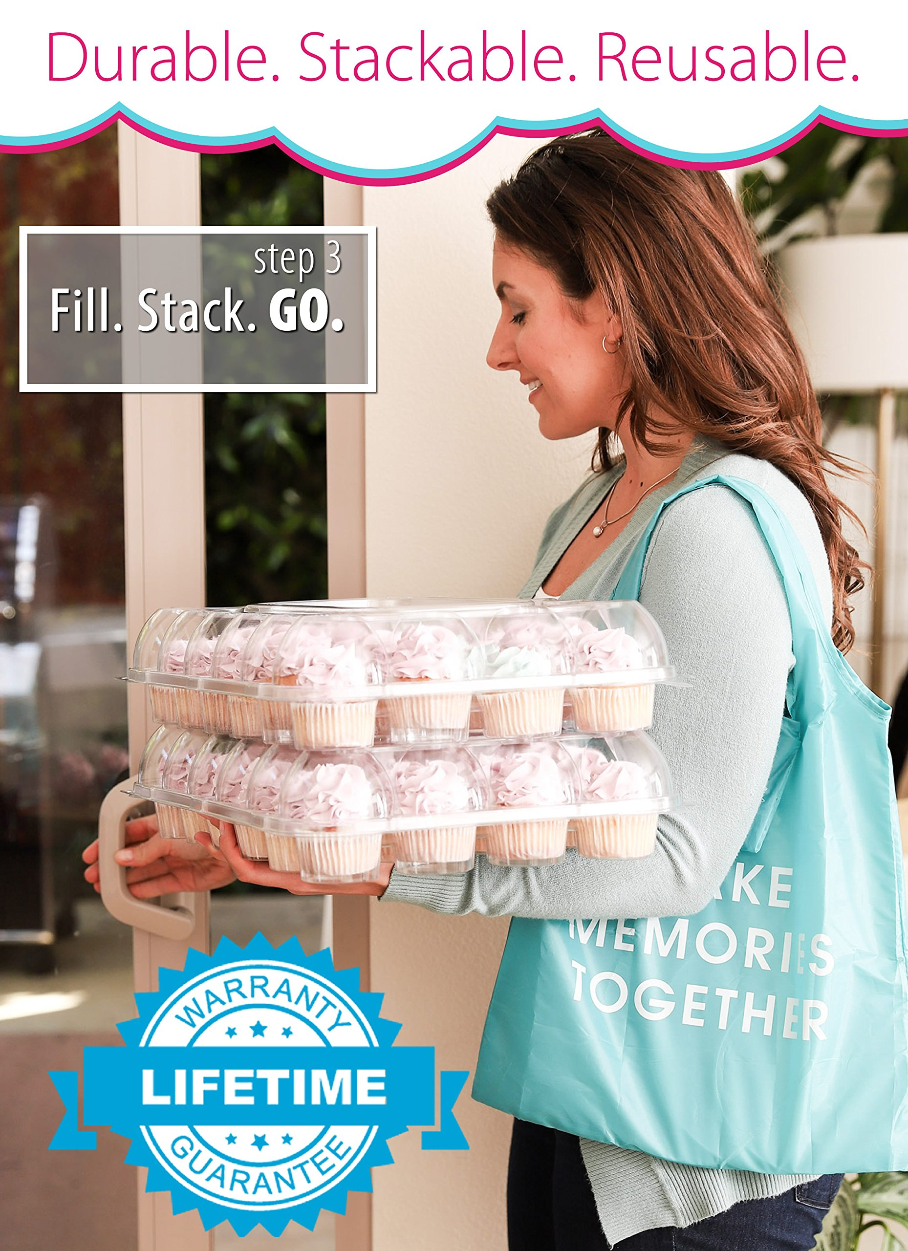 (6 Pack) Fill'nGo Carrier Holds 24 Standard Cupcakes - Ultra Sturdy Cupcake Boxes | Tall Dome Detachable Lid | Clear Plastic Disposable Containers | Storage Tray | Travel Holder | Also Regular Muffins by Cakes of Eden (Image #5)