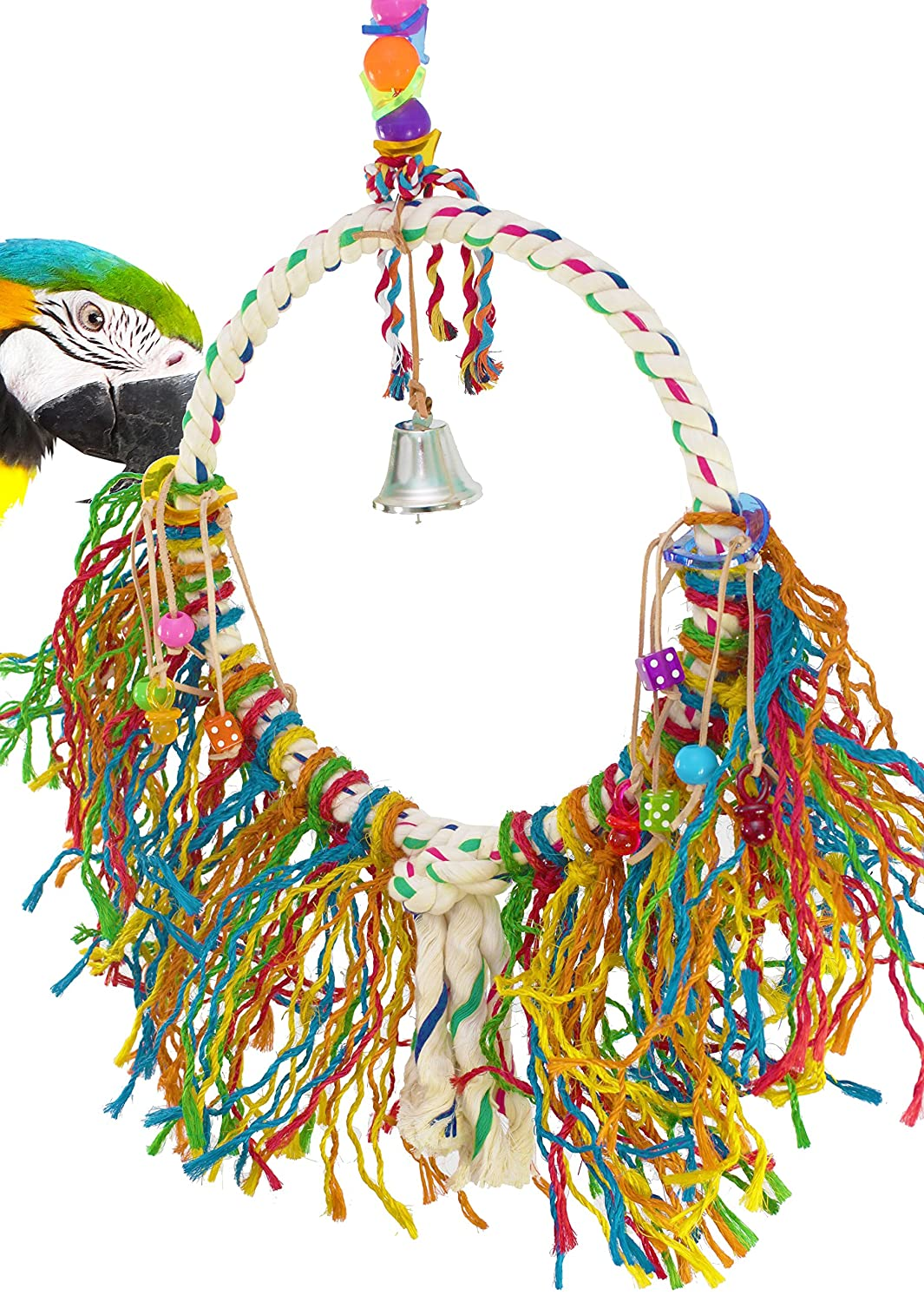 Bonka Bird Toys 1038 Huge Fuzz Rope Ring Bird Toy Parred cage Toys Cages Cockatoo Macaw Amazon
