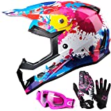 GLX DOT Youth Kids Motocross ATV Dirt Bike Helmet Off Road Graffiti Pink+Goggles+Gloves (M)