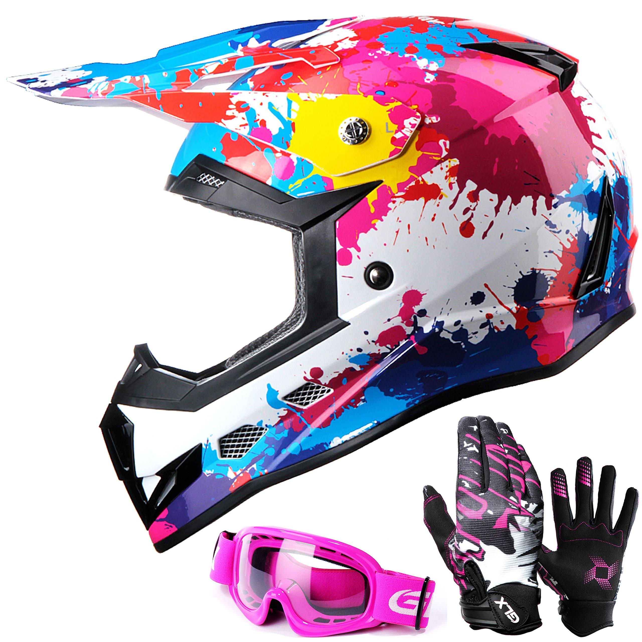 GLX DOT Youth Kids Motocross ATV Dirt Bike Helmet Off Road Graffiti Pink+Goggles+Gloves (L)