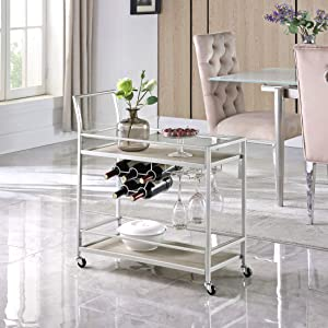FirsTime & Co. Silver and Gray Francesca Bar Cart, American Designed, Silver, 30 x 13 x 32.5 inches, Silver & Gray (70287)