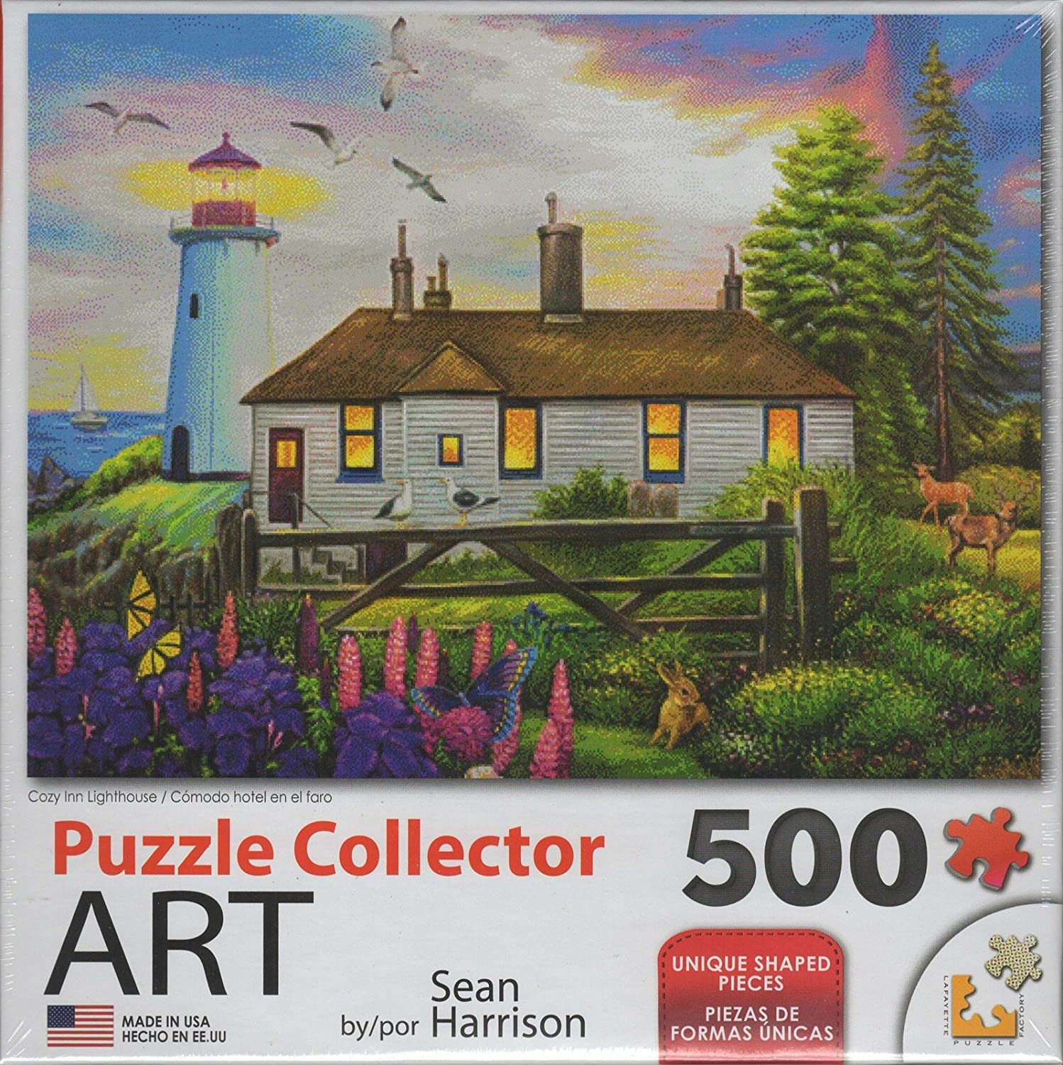 Cozy Inn Lighthouse 500pc Collector Puzzle by Sean Harrison Lafayette Puzzle Factory