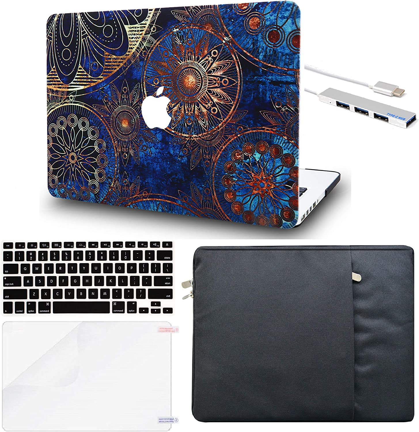 LuvCase 5in1 Laptop Case for MacBook Air 13 Inch (Touch ID) (2018-2020) A1932 Retina Displayy Hard Shell Cover, Sleeve, USB Hub 3.0, Keyboard Cover&Screen Protector (Bohemian)