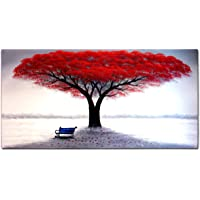FLY SPRAY 1-Piece 100% Hand Painted Oil Paintings Stretched Framed Ready Hang Flower Landscape Tree Flower Modern Abstract Painting Canvas Living Room Bedroom Office Wall Art Home Decoration