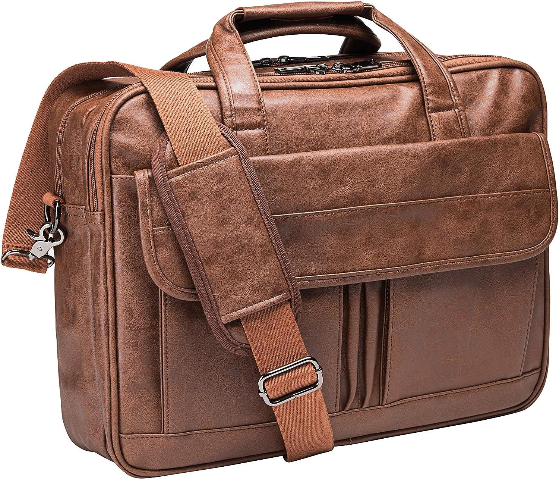 Men/'s Large Office Laptop Bag Brown Vintage Leather Satchel Briefcase Messenger