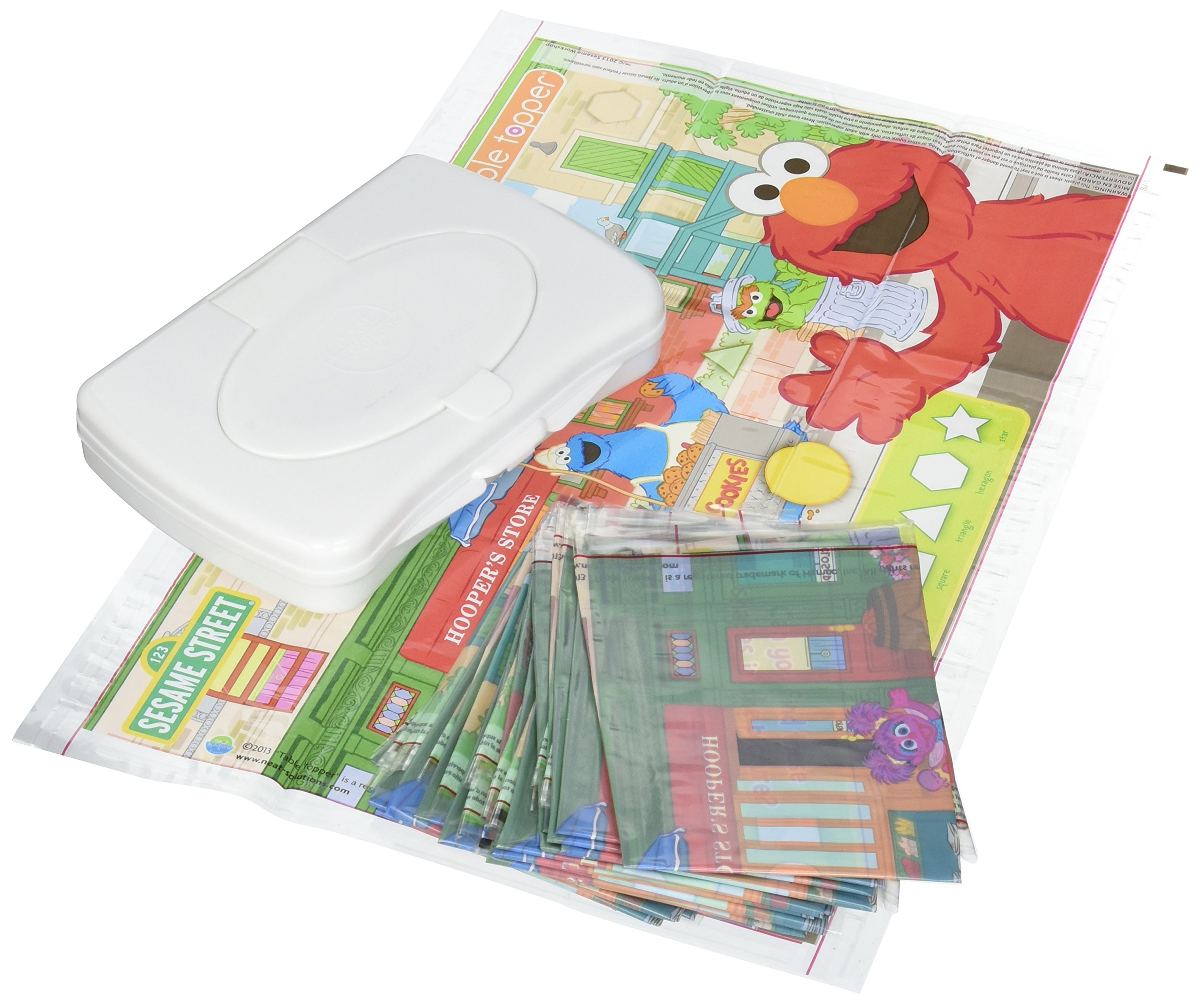 Sesame Street Table Topper Disposable Stick-on Placemats with Reusable Pop-up Travel Case, 50-Count by Neat Solutions