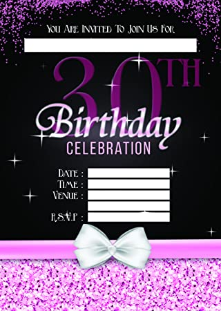 LADIES 30TH BIRTHDAY PARTY INVITES INVITATIONS X 10 PACK