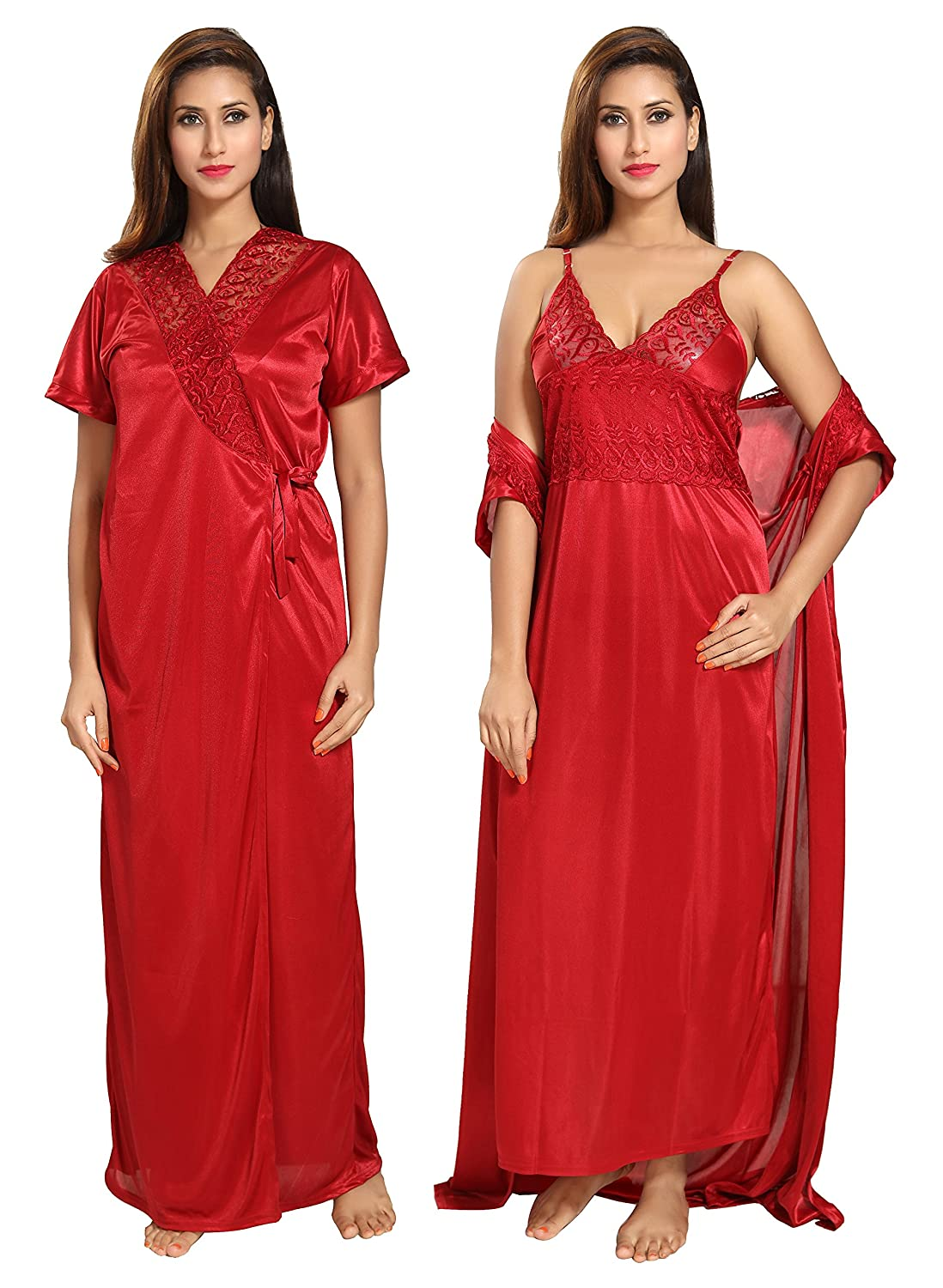 347e799045 Noty Women s Satin Nighty with Robe(51153 Maroon  Free Size) - Pack of 2   Amazon.in  Clothing   Accessories
