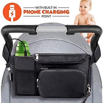 Instant Access Wipe Pocket Universal Strap Fit Large Storage Space Blue Fits Most Baby Stroller Models.Travel Bag with Shoulder Strap,Insulated Deep Cup Holders Stroller Organizer Bag