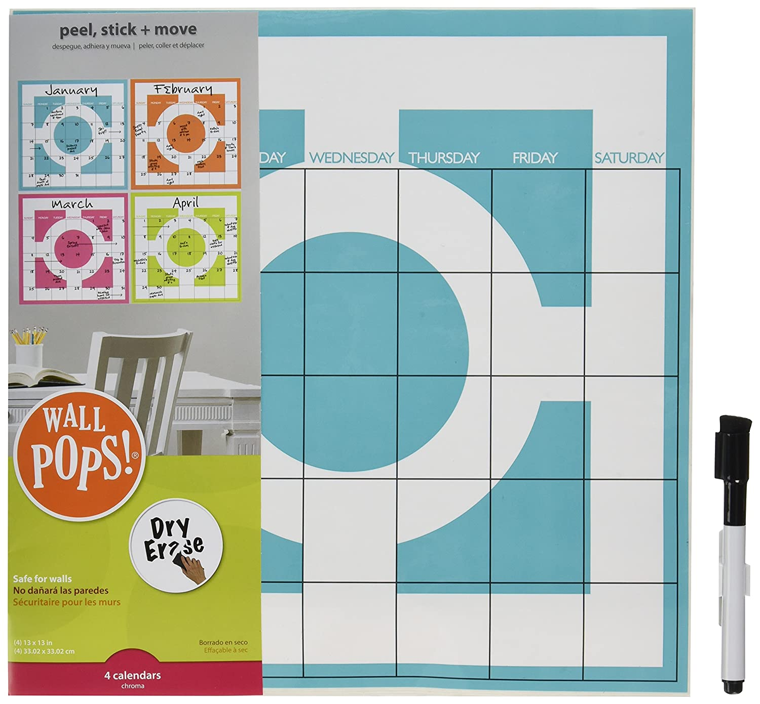 Wall Pops Brewster Twister Dry Erase Kit 4 Piece Wall Decal Calendar