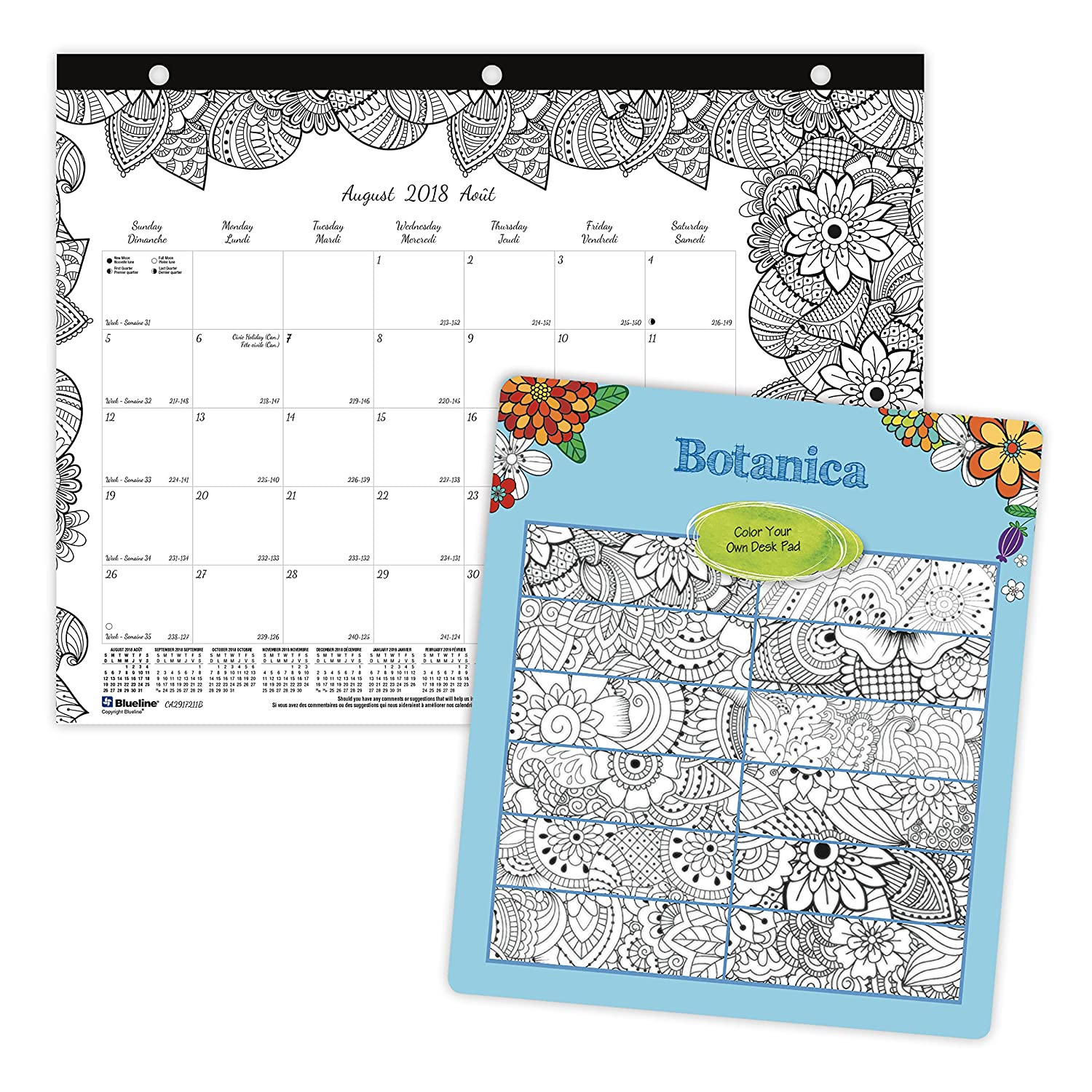 Blueline 2018-2019 DoodlePlan Academic Colouring Desk Pad Calendar, Botanica Designs, August to July, 11x8-1/2, Bilingual (CA2917211B-2019) 11x8-1/2 Blueline Canada