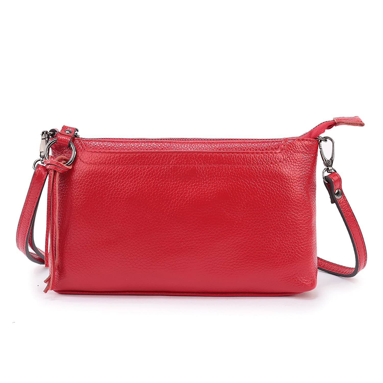Lanvera Women's Crossbody Shoulder Bag Genuine Leather Zipper Clutch Purse Wallet Handbag