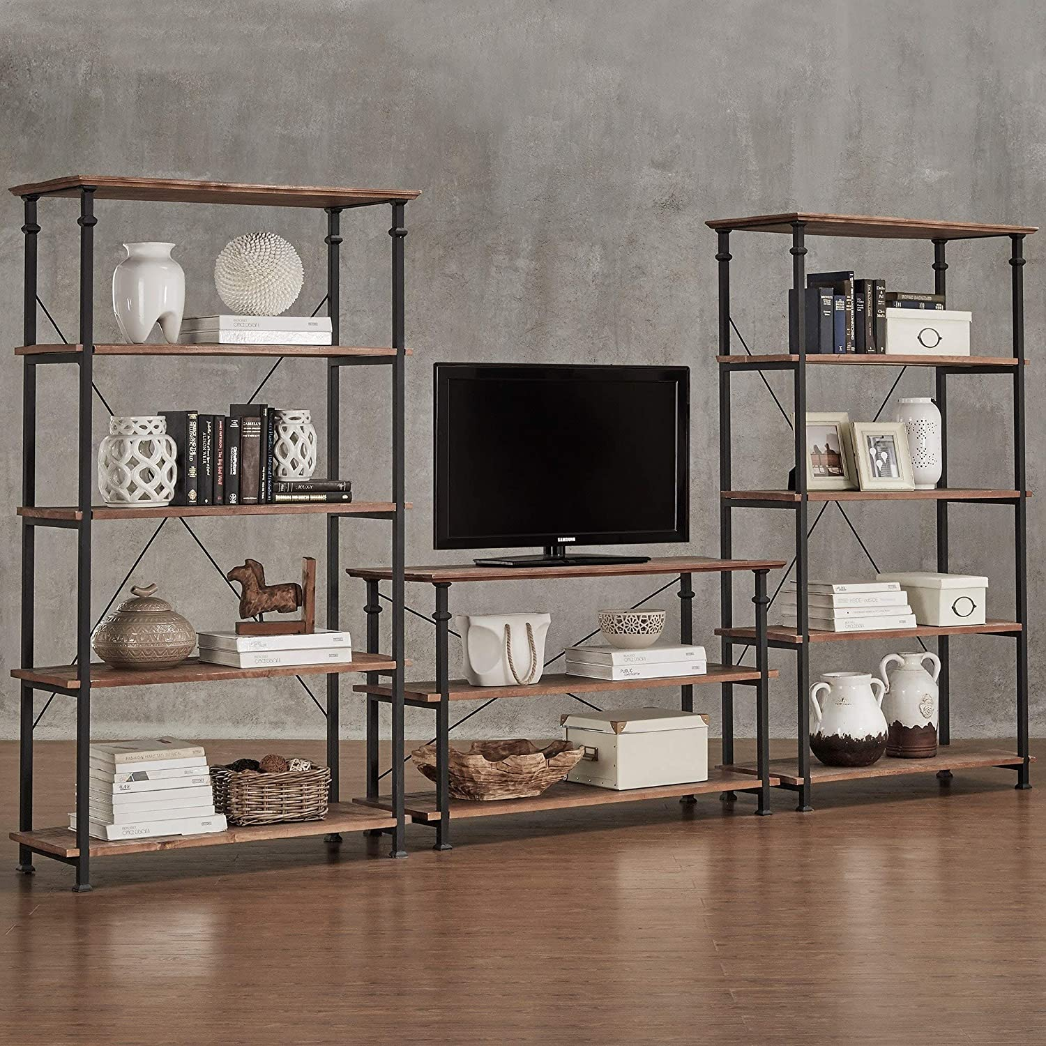 Vintage Industrial Modern Rustic 3-Piece Tv Stand 40-inch Bookcase Set Brown Transitional Metal Wood Finish