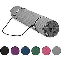 "Gaiam Essentials Premium Yoga Mat with Yoga Mat Carrier Sling, Grey, 72"" L x 24"" W x 1/4 Inch Thick"