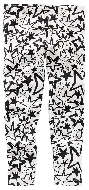 9-12M OshKosh Girls Doodle Star Leggings; Black /& White