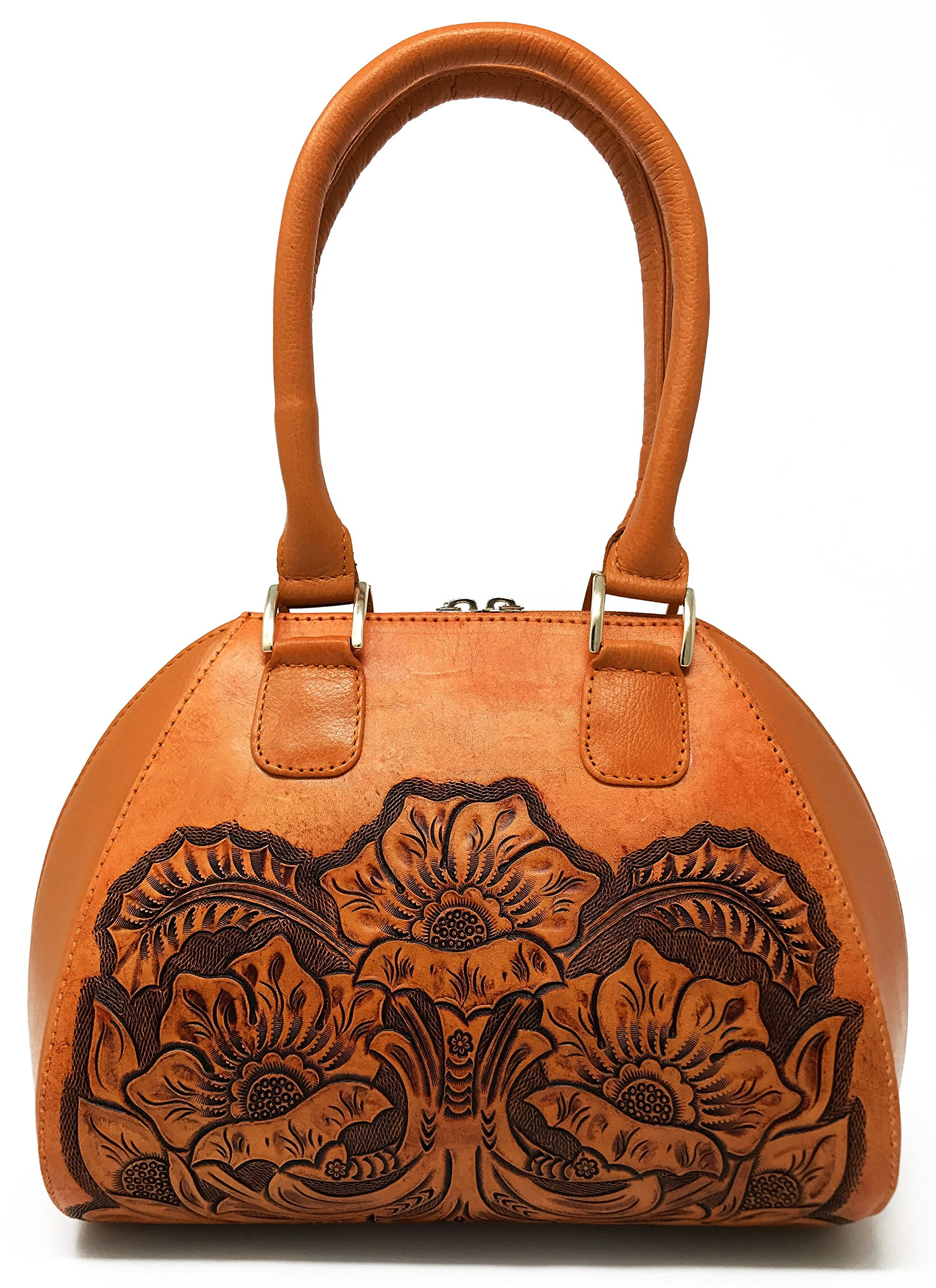 Alexandria Vintage Floral Artisan Leather Handmade Top Handle CrossBody Handbag Designer Gift for Women (Natural)