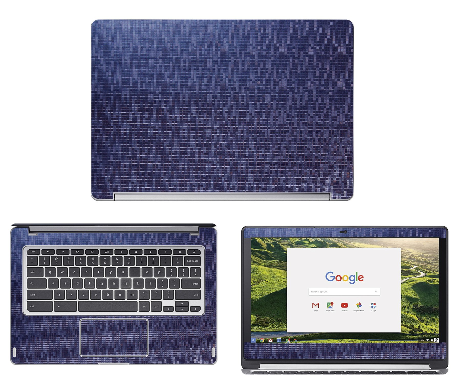 Decalrus - Protective decal for Acer ChromeBook R13 CB5-312T (13.3'' Screen) Laptop Chameleon Mosaic pattern Blue to Purple Texture skin skins decal wrap MOSacerChrmbkCB5_312Blue