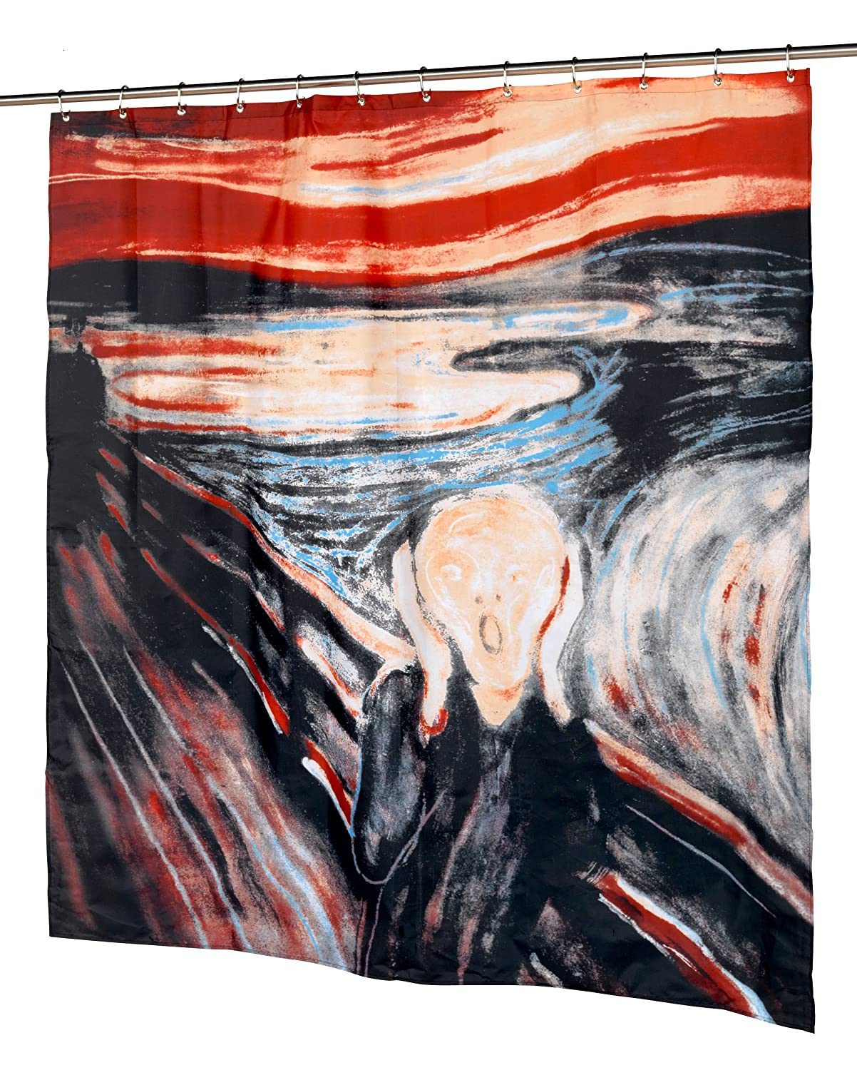 The Scream Fabric Novelty Shower Curtain Museum Collection by artist Edvard Munch Home Bargains